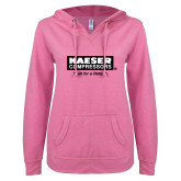 ENZA Ladies Hot Pink V Notch Raw Edge Fleece Hoodie-Kaeser w tagline