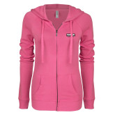 ENZA Ladies Hot Pink Light Weight Fleece Full Zip Hoodie-Kaeser w tagline