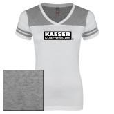 Ladies White/Heathered Grey Juniors Varsity V Neck Tee-Kaeser Primary Mark
