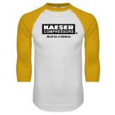 White/Gold Raglan Baseball T Shirt-Kaeser