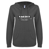 ENZA Ladies Dark Heather V Notch Raw Edge Fleece Hoodie-Kaeser w tagline