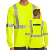 Safety Yellow ANSI 107 Class 2 Safety Long Sleeve T Shirt w/Pocket-Kaeser Compressors