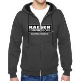 Charcoal Fleece Full Zip Hoodie-Kaeser w tagline