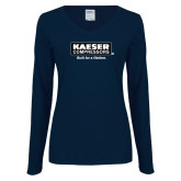 Ladies Navy Long Sleeve V Neck Tee-Kaeser w tagline