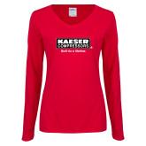 Ladies Red Long Sleeve V Neck Tee-Kaeser w tagline