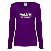 Ladies Purple Long Sleeve V Neck Tee-Kaeser w tagline