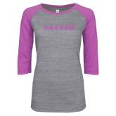 ENZA Ladies Athletic Heather/Violet Vintage Baseball Tee-Kaeser Lilac Soft Glitter