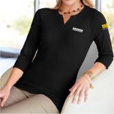 Ladies V Notch Black 3/4 Sleeve Shirt-Kaeser Compressors