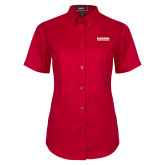 Ladies Red Twill Button Up Short Sleeve-Kaeser Compressors