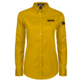 Ladies Gold Twill Button Down Long Sleeve-Kaeser Compressors