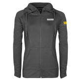 Ladies Sport Wick Stretch Full Zip Charcoal Jacket-Kaeser Compressors