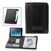Fabrizio Black Zip Padfolio w/Power Bank-Kaeser w tagline Engraved