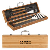 Grill Master 3pc Bamboo BBQ Set-Kaeser Compressors Engraved