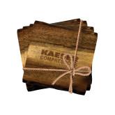 Acacia Wood Coaster Set-Kaeser Compressors Engraved