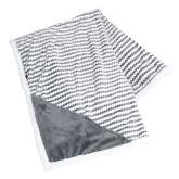 Field & Co Luxurious Grey Chevron Striped Sherpa Blanket-Kaeser Compressors Engraved