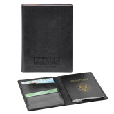 Fabrizio Black RFID Passport Holder-Kaeser w tagline Engraved