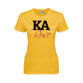 Ladies Gold T Shirt-KA Rose