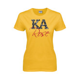 Ladies Gold T Shirt-KA Script Fill Rose