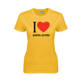 Ladies Gold T Shirt-I Heart Kappa Alpha