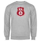 Grey Fleece Crew-KA Shield