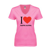 Next Level Ladies Junior Fit Deep V Pink Tee-I Heart Kappa Alpha