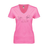 Next Level Ladies Junior Fit Deep V Pink Tee-Kappa Alpha Rose