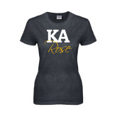 Ladies Dark Heather T Shirt-KA Rose