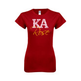 Next Level Ladies SoftStyle Junior Fitted Cardinal Tee-KA Script Fill Rose
