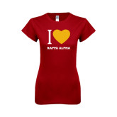 Next Level Ladies SoftStyle Junior Fitted Cardinal Tee-I Heart Kappa Alpha