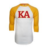 White/Gold Raglan Baseball T-Shirt-Two Color KA