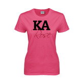 Ladies Fuchsia T Shirt-KA Rose
