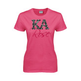 Ladies Fuchsia T Shirt-KA Script Fill Rose