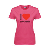 Ladies Fuchsia T Shirt-I Heart Kappa Alpha