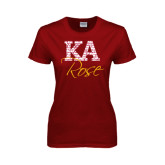 Ladies Cardinal T Shirt-KA Script Fill Rose