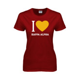 Ladies Cardinal T Shirt-I Heart Kappa Alpha