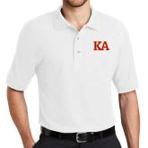 White Easycare Pique Polo-Two Color KA