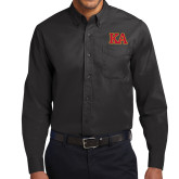 Black Twill Button Down Long Sleeve-Two Color KA