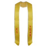 Gold Graduation Stole w/White Trim-KA Stacked Tackle Twill Amasis Regular Letters