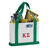 Contender White/Dark Green Canvas Tote-Kappa Sigma - Greek Letters - 2 Color