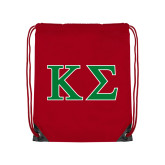 Red Drawstring Backpack-Kappa Sigma - Greek Letters - 2 Color