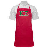 Full Length Red Apron-Kappa Sigma - Greek Letters - 2 Color