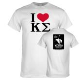 White T Shirt-I Heart Kappa Sigma