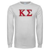 White Long Sleeve T Shirt-Kappa Sigma - Greek Letters - 2 Color