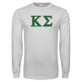 White Long Sleeve T Shirt-Kappa Sigma - Greek Letters - 2 Color