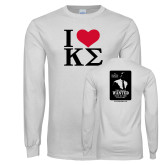 White Long Sleeve T Shirt-I Heart Kappa Sigma