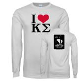 White Long Sleeve T Shirt-I Heart Kappa Sigma