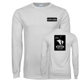 White Long Sleeve T Shirt-Kappa Sigma Left Chest