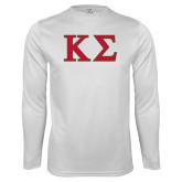 Performance White Longsleeve Shirt-Kappa Sigma - Greek Letters - 2 Color