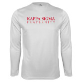 Performance White Longsleeve Shirt-Kappa Sigma Fraternity