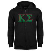 Black Fleece Full Zip Hoodie-Kappa Sigma - Greek Letters - 2 Color